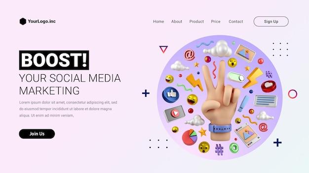 Strona docelowa marketingu w mediach społecznościowych z ręcznie rysowaną ilustracją 3d