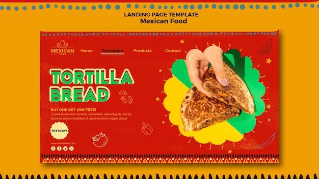 Strona docelowa meksykańskiej restauracji z jedzeniem