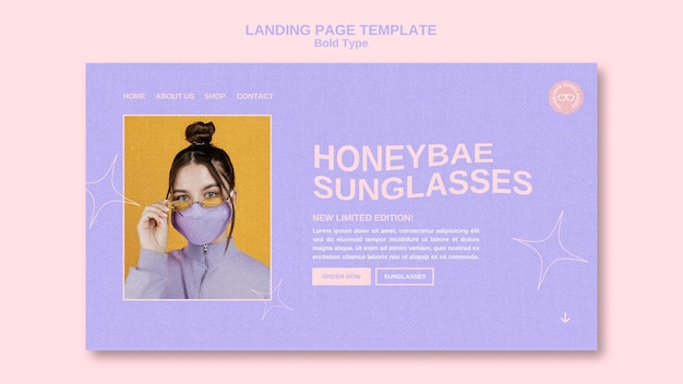 Strona docelowa okularów przeciwsłonecznych typu pogrubionego