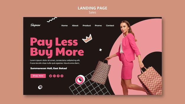 Strona docelowa sprzedaży z kobietą w różowym garniturze