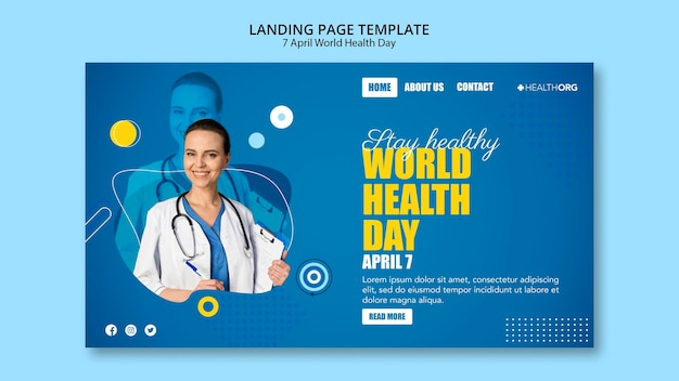 Strona docelowa światowego dnia zdrowia ze zdjęciem