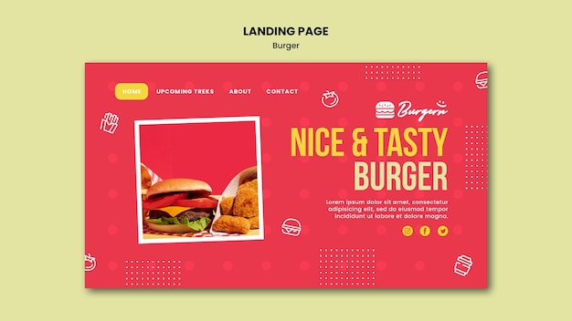 Strona docelowa szablonu restauracji burger