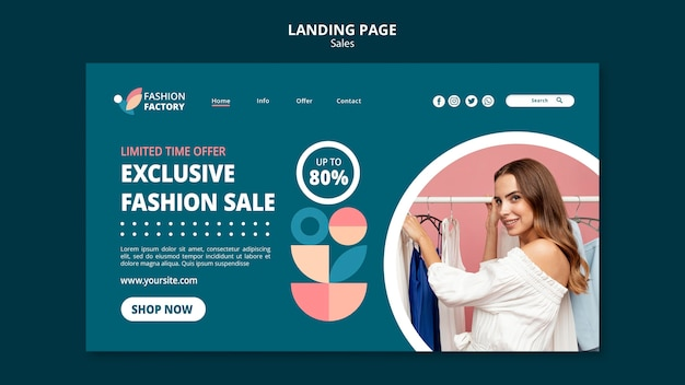 Strona docelowa szablonu sprzedaży mody