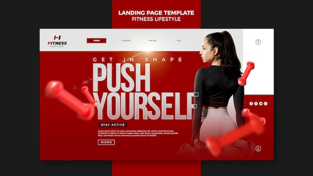 Strona docelowa szablonu stylu życia fitness