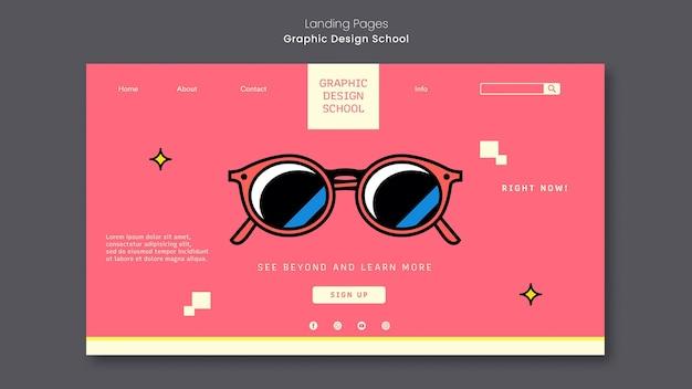 Strona Docelowa Szkoły Projektowania Graficznego Premium Psd