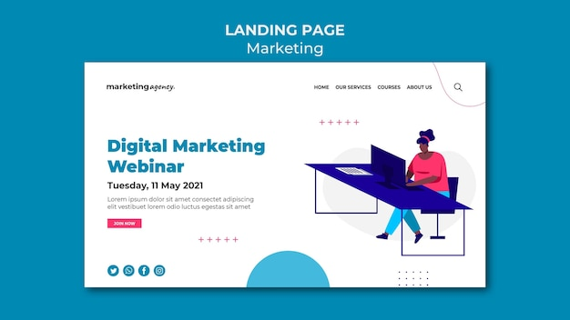 Strona docelowa webinaru dotyczącego marketingu cyfrowego