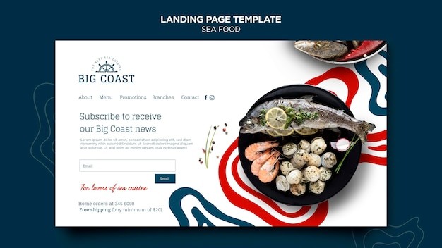 Strona Docelowa Z Owocami Morza Premium Psd