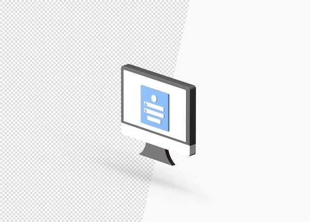 Strona logowania użytkownika na komputerze na białym tle koncepcja 3d