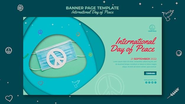 Strona transparentu międzynarodowego dnia pokoju z papierowym znakiem pokoju