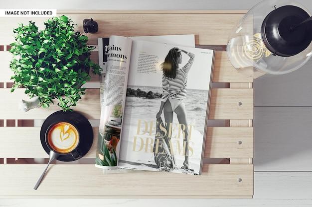 Strony magazynu a4 z makietą z błyszczącego papieru