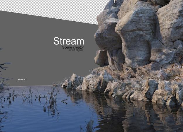 Strumień przepływający przez dużą skałę