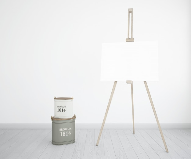 Studio sztuki z płótnem i butelkami z farbą
