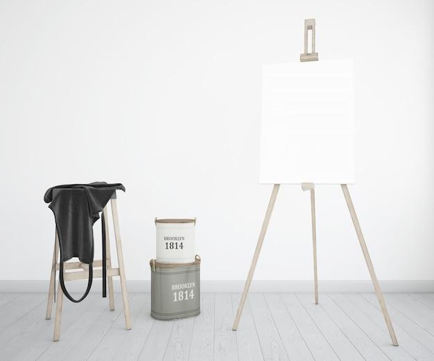 Studio sztuki z płótnem i fartuchem