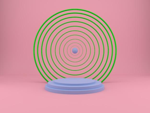 Studio z geometrycznymi kształtami i podium do renderowania prezentacji produktów