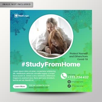 Studiuj z domowej ulotki na temat koronawirusa, baneru społecznościowego na instagramie