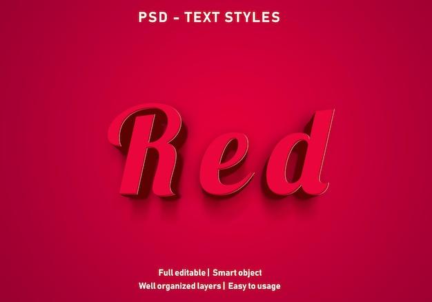 Styl edytowalny psd efektów tekstowych w kolorze czerwonym