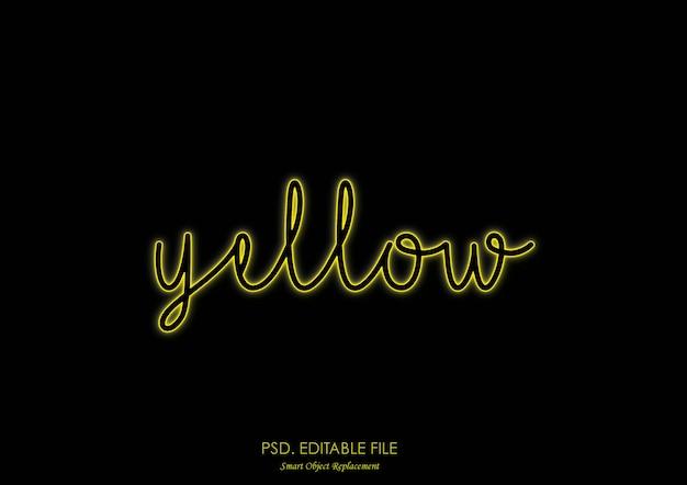 Styl efektu żółtego światła neonowego tekstu