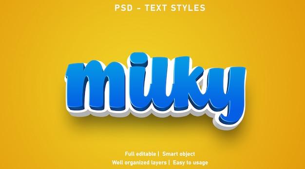 Styl mlecznych efektów tekstowych