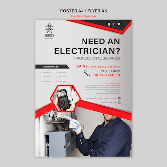 Styl plakatu dotyczący usług elektrycznych