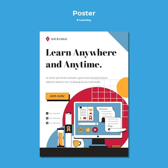 Styl plakatu koncepcji e-learningu