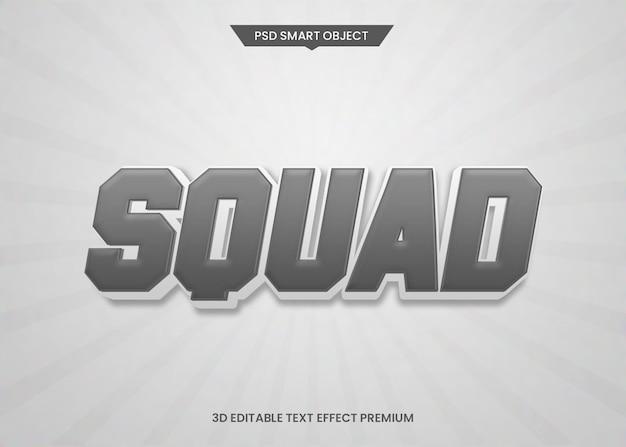 Styl sportowy drużyny 3d edytowalny efekt stylu tekstu