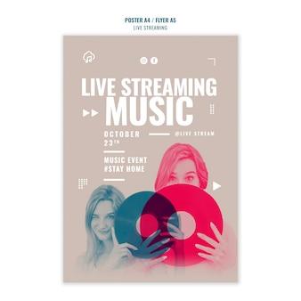 Styl szablonu plakatu strumieniowego przesyłania muzyki na żywo