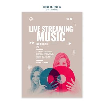 Styl szablonu ulotki strumieniowego przesyłania muzyki na żywo