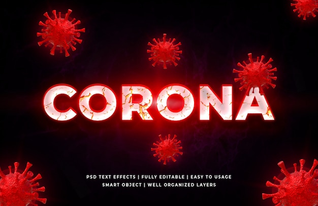 Styl tekstu 3d wirusa czerwonej korony