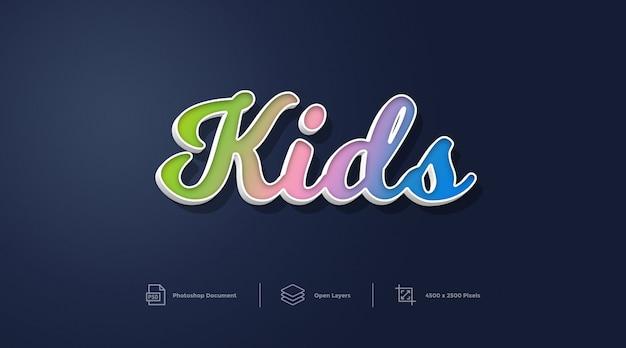 Styl tekstu dla dzieci styl projektowania efekt photoshop layer style effect