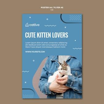 Styl ulotki koncepcja miłośnika kotów
