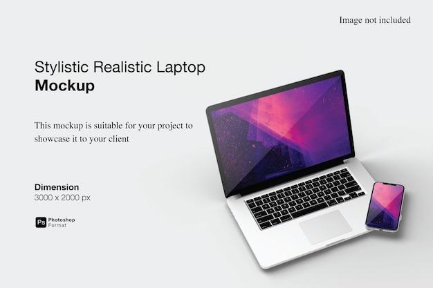 Stylistyczny realistyczny laptop i makieta smartfona na białym tle