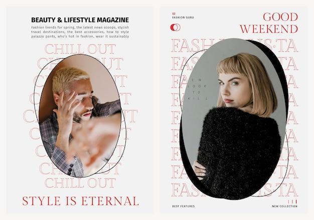 Stylowe szablony psd dla plakatów o modzie, urodzie i stylu życia