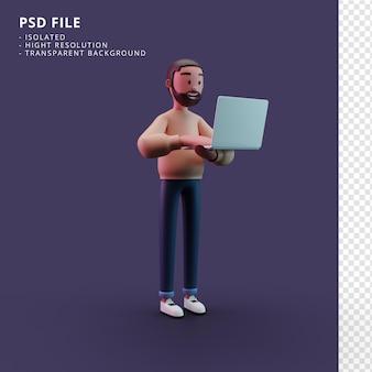 Stylowy mężczyzna postać trzyma laptopa renderowania 3d