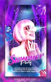 Stylowy pionowy letni klub muzyczny imprezowy nocny baner w mediach społecznościowych