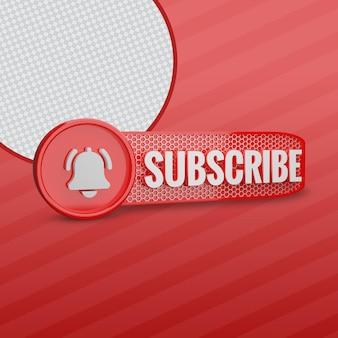 Subskrybent youtube z ikoną dzwonka 3d