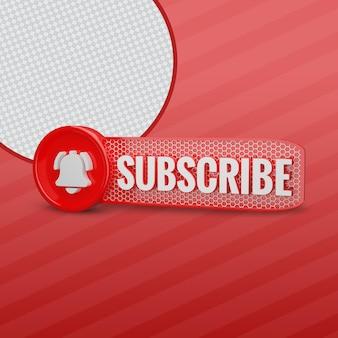 Subskrybent youtube z ikoną dzwonka renderowania 3d