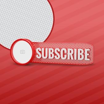 Subskrybent youtube z obrazem kanału 3d