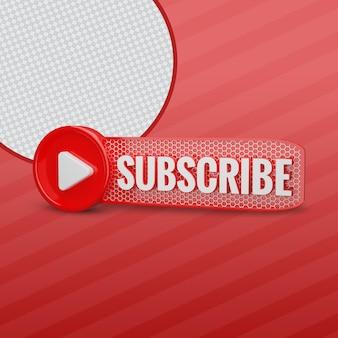 Subskrybent youtube z przyciskiem odtwarzania renderowania 3d