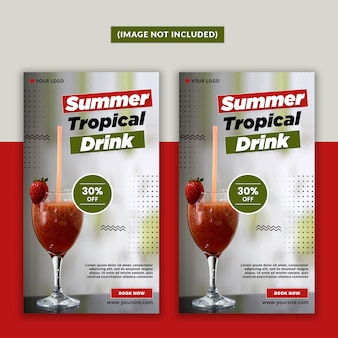 Summer drink social media story psd