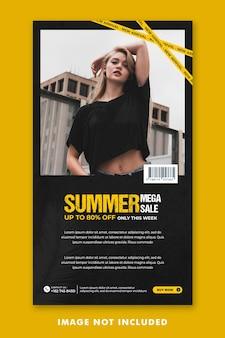 Summer fashion social media post szablon instagram stories