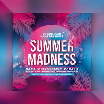 Summer madness party flyer