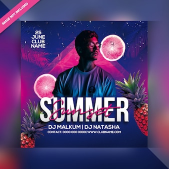 Summer sunset party flyer