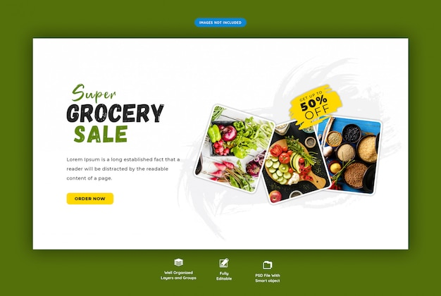 Super banner sprzedaży spożywczej