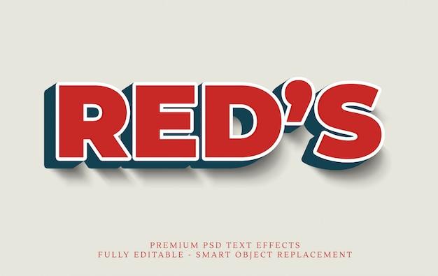 Super czerwony efekt stylu tekstowego 3d psd