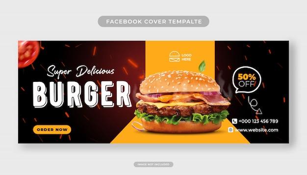 Super delicious burger i szablon okładki facebooka menu żywności