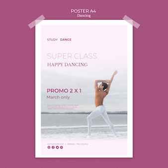 Super klasa plakat szablon szkoły tańca