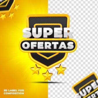 Super oferty z żółtym podium dla kampanii brazylijskich renderowanie 3d