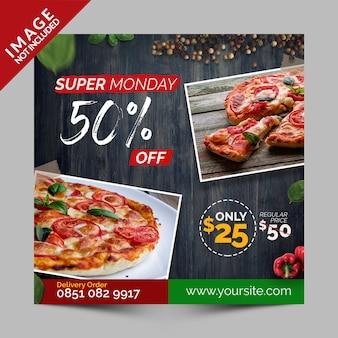 Super poniedziałek zniżki, kwadratowy baner, ulotka lub post na instagramie dla włoskiej pizzerii