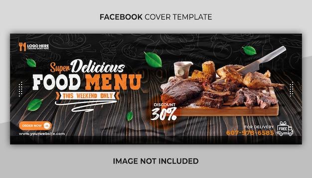 Super pyszne menu z jedzeniem na okładkę na facebooku i szablon banera internetowego