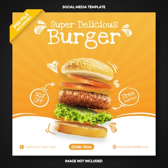 Super pyszny szablon transparentu promocji burgera w mediach społecznościowych